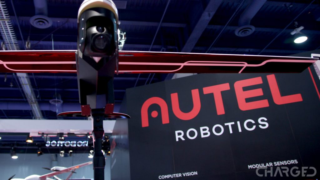 For our Autel robotics drones guide, this is the Autel Robotics logo on a wall behind the Kestral concept fixed wing drone at CES 2017.