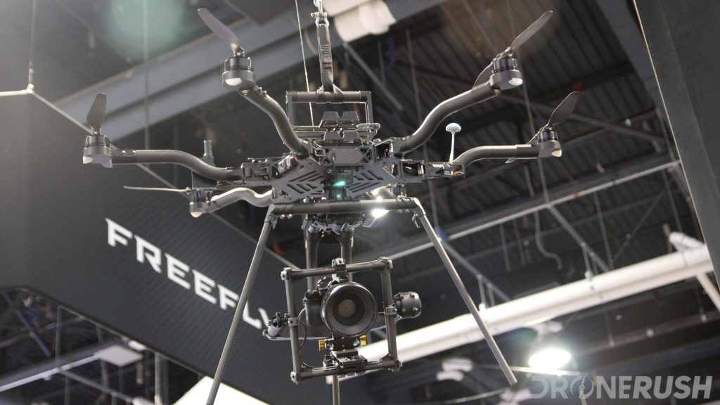 FreeFly Alta 6 suspended above the crowd at The NAB Show 2017 in Las Vegas. This is a powerful hexacopter made to haul high-end cameras.