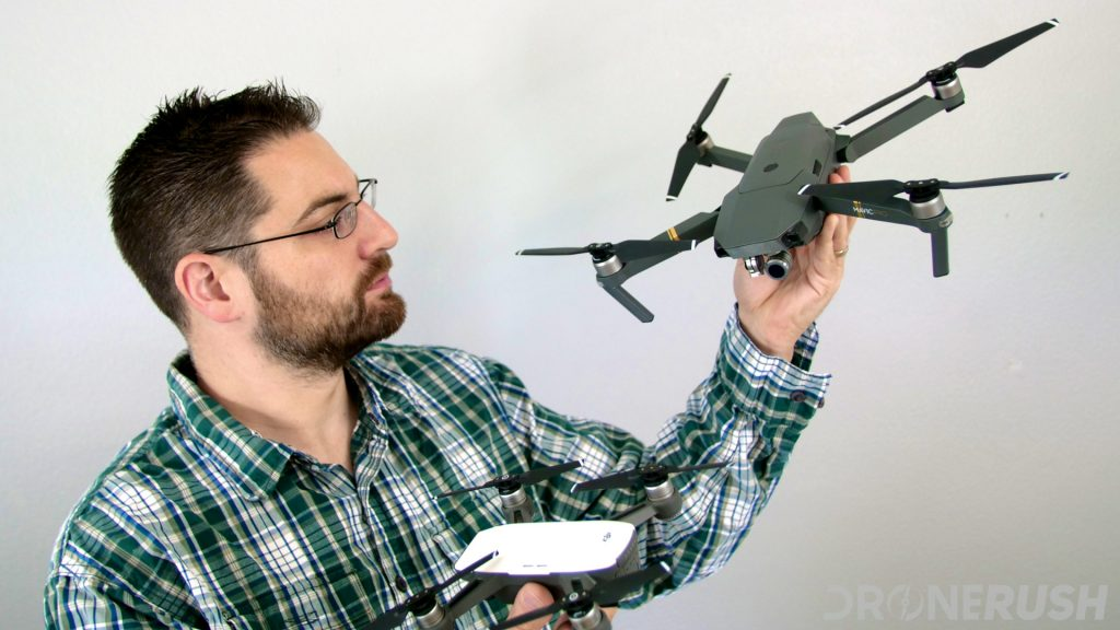 Drone Rush drones, the best of the best with Jonathan Feist holding the DJI Mavic Pro and DJI Spark