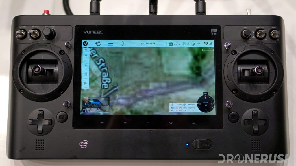 Photo of the Yuneec st16s controller for the Yuneec H520 commercial drone, showing a map on its built-in display from one of the best drone apps for drones.
