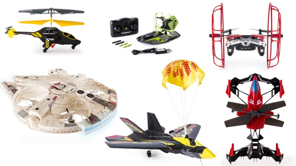 A Selection Of Air Hogs Drones Including Star Wars And Trek