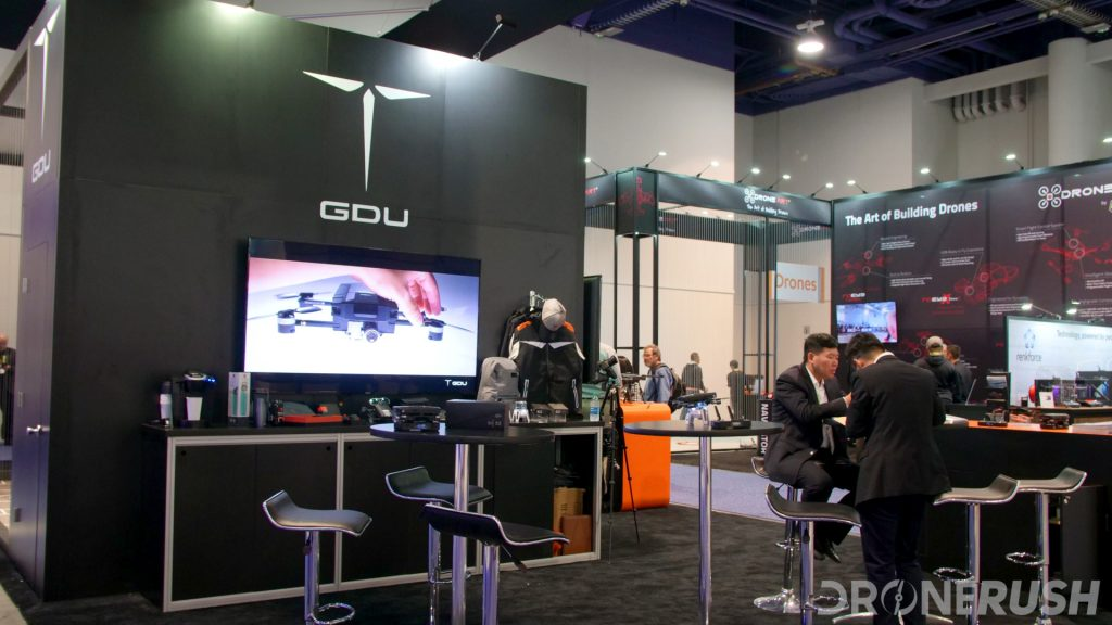 GDU Booth at CES 2018 in Vegas. GDU O2 and Byrd drones were on display, and the O2 was flown all day in the flight cage.